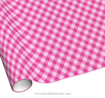 Girly pink checkered squares gingham pattern wrapping paper
