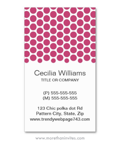 Modern fuchsia rose polka dot pattern personal profile or business cards for women