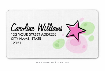 Pink star rock fashion sweet sixteen return address label