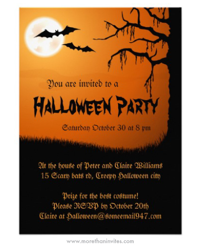 Spooky Halloween party invitation with full moon bats and creepy tree