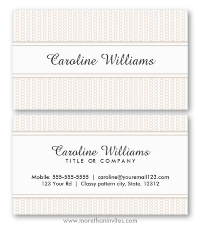 Styilish elegant general generic business card for women with subtle tan beige ring or chain pattern