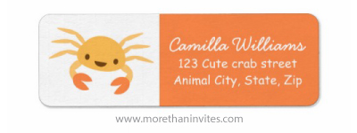 Cute kawaii crab gender neutral baby shower return address labels