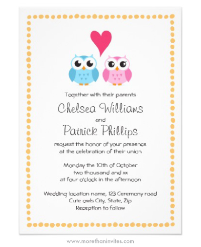 Cute owl cartoon couple wedding invitation with whimsical dot border