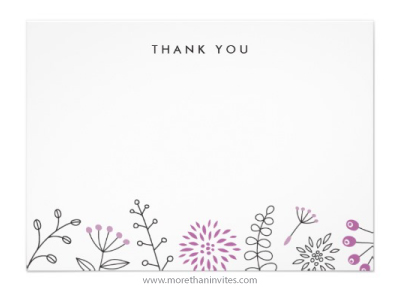 Nature doodle thank you note card with leaves and flowers plum purple violet version
