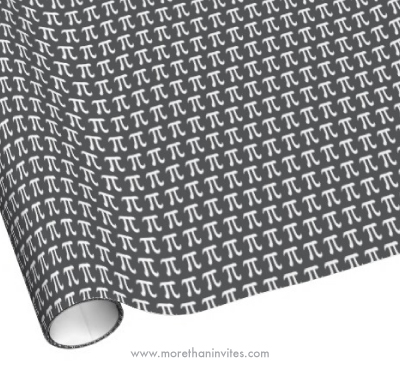 White and dark gray pi symbol pattern wrapping paper