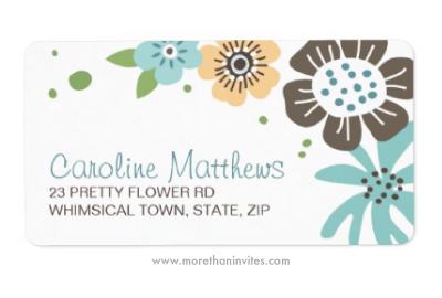 Blue and brown pretty flowers custom return address labels