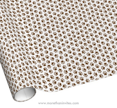 Brown dog or cat paw print pattern animal track birthday wrapping paper