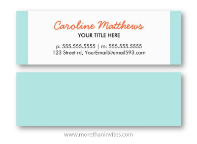 Modern aqua blue and orange girly personal profile blogger business card for women