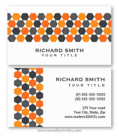 Modern gray orange hexagon pattern border professional business card