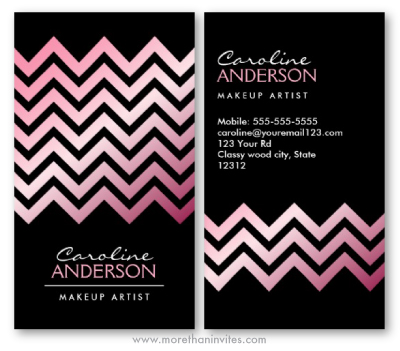 Pink satin chevron zigzag stripes fashionable boutique personal profile business card