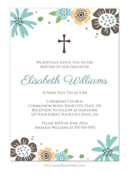 Cute baptism / christening invitation with pretty, blue ...