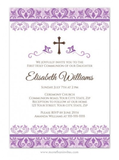 Cute purple damask First Holy Communion or Confirmation invitation with brown cross