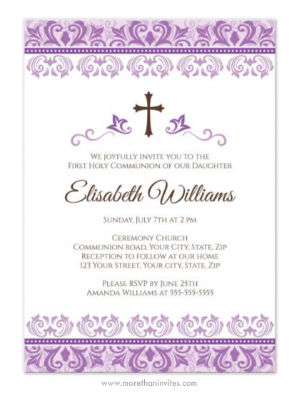 purple damask first holy communion confirmation invitation for
