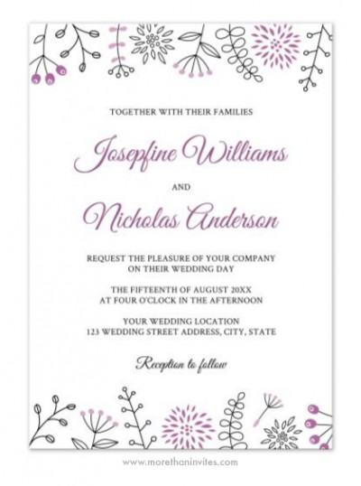 Modern and cute wedding invite with violet doodle nature elements