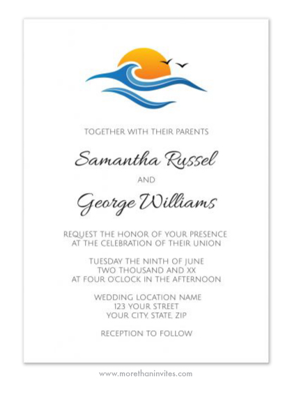 Tropical holiday wedding invitation with the sea and rising sun.