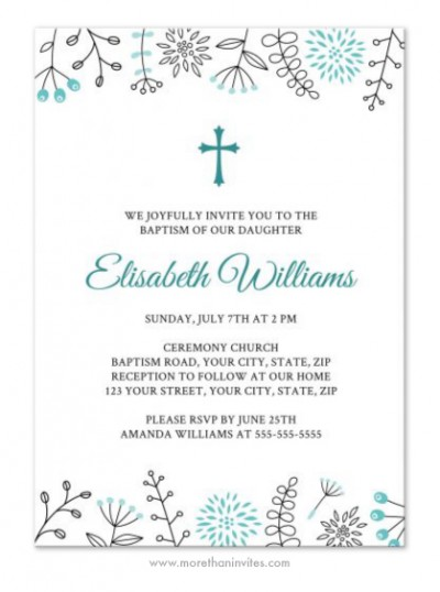 Cute, elegant baptism/christening invite with nature and flower doodle borders.