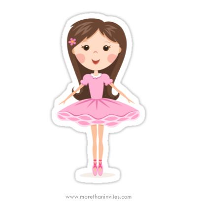 Little Prima Ballerina In Pink Tutu Cute Cartoon Sticker