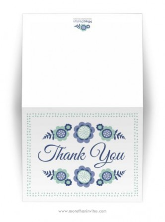 Cute whimsical blue bloom floral thank you card