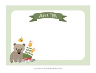 Brown bear cub and mushrooms beside mossy rock, flat thank you note card