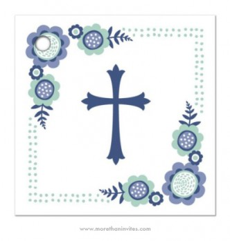 Cute favor thank you tag with blue cross and whimsical flowers. For first holy communion/confirmation and baptism/christening.