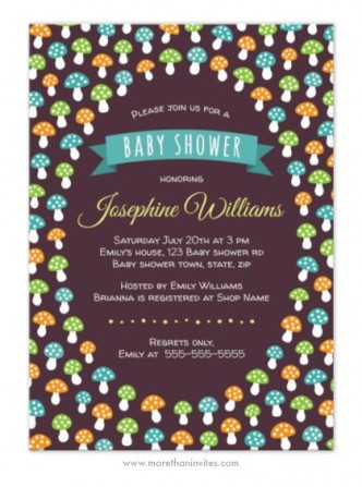 Cute mushrooms gender neutral baby shower invite