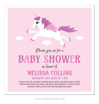 Sweet and girly baby shower invite for little girls with unicorn and clouds on a pink background.