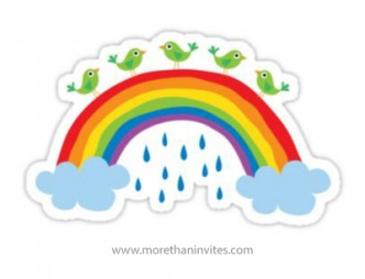 Bright and fun sticker for kids with green birds standing on a rainbow