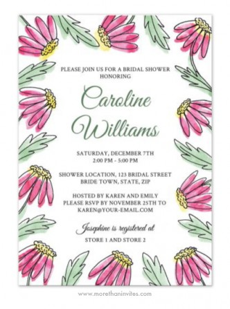 Pink water color daisy flowers garden bridal shower invite