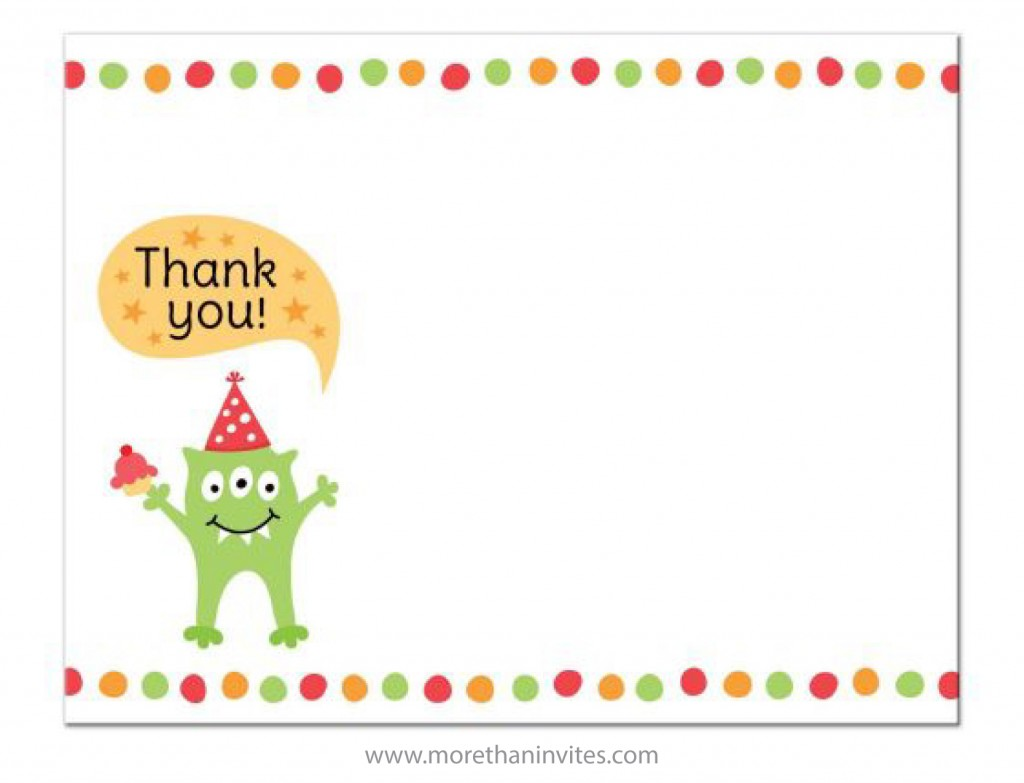Birthday thank you card with cute and funny green monster wearing a party hat.