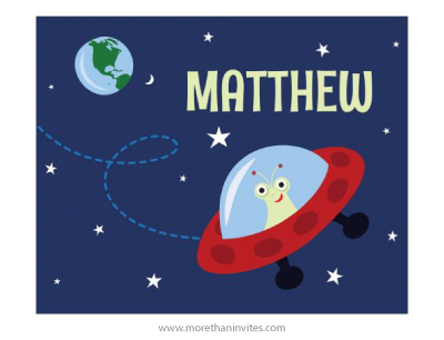 Cute alien in spaceship with earth and star personalized nursery wall art for kids