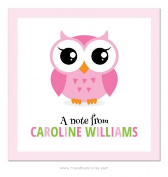Cute notecard for girls with cartoon owl and personalized name in green and pink letters