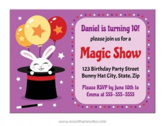 Cute magic show birthday party invite with white bunny rabbit in a black hat.