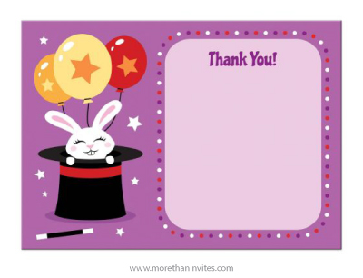 Cute white bunny in magicians hat magic show birthday party thank you card for kids