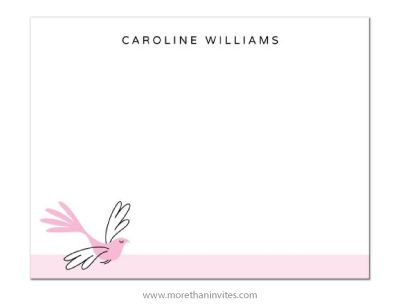 Elegant pink bird personalized note card for women
