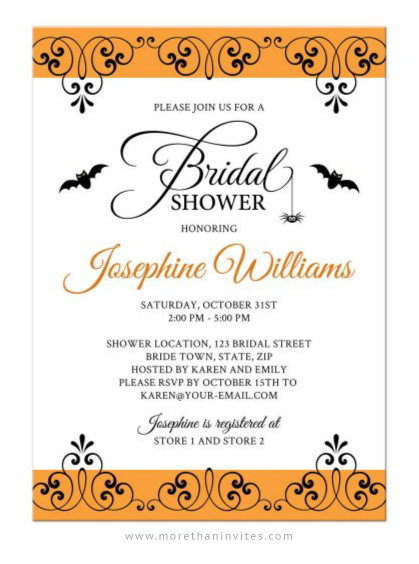Elegant Halloween Bridal Shower Invitation With Bats And Spider