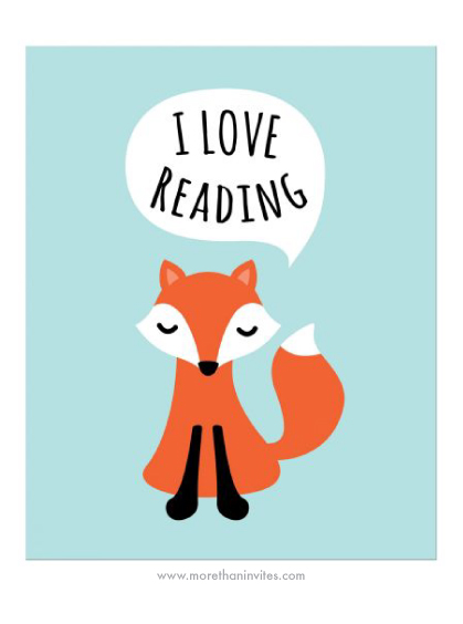 Cute nursery wall art for children with fox saying I love reading