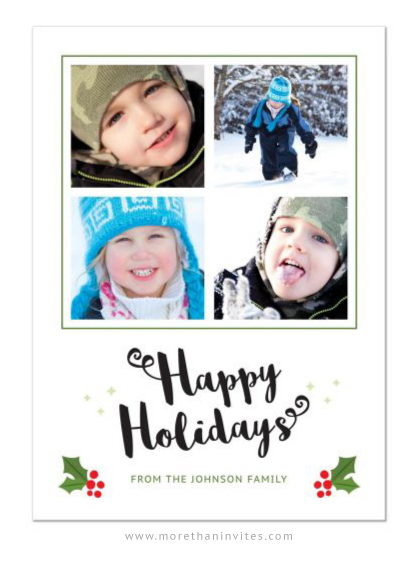 Happy holidays Christmas card with family photos