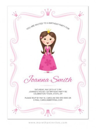 Kids birthday party archives more than invites cute and girly princess theme party invitation for kids filmwisefo