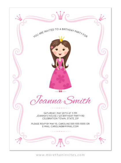 Cute and girly princess theme party invitation for kids
