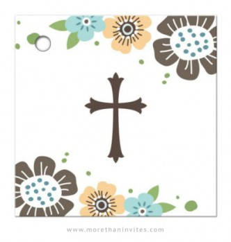 First holy communion or confirmation thank you tag with whimsical flowers and brown cross