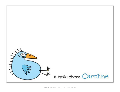 Cute note card for girls with funny blue bird and personalized name