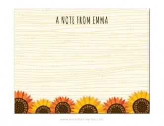 Cute stationery notecard for women featuring orange red and yellow sunflowers