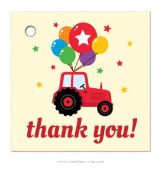 Colorful favor gift tags for kids parties, farm tractor theme.