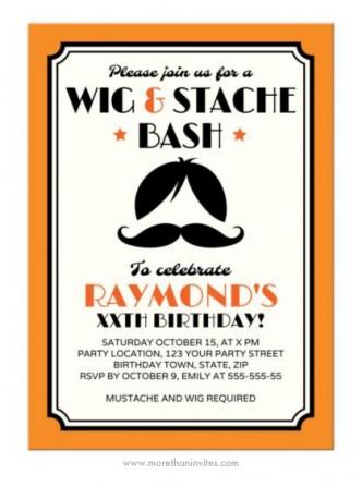 Retro wig and mustache birthday party invitation