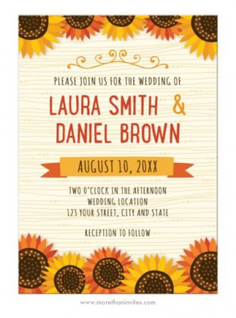 A cute and somewhat whimsical wedding invite with orange-red and yellow sunflowers