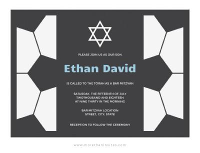 Soccer bar mitzvah invitation with soccer ball pattern