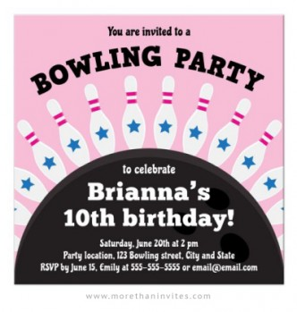 Bowling party invite for girls with bowling pins in a row on top of a bowling ball