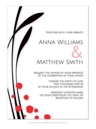 A modern, simple but elegant wedding invitation with Japanese /Asian inspired abstract grass and floral elements.