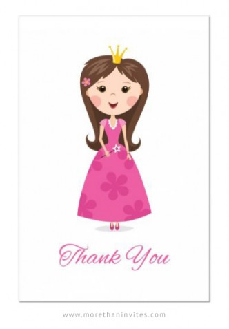 Cute princess party thank you card for girls with cartoon princess and text Thank you
