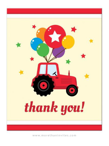 farm party thank you notes with red tractor and colorful balloons